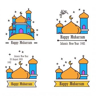 De schattige platte ontwerpinspiratie van icoon om de maand muharram en het islamitische nieuwe jaar te verwelkomen.