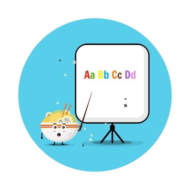 De schattige ramenmascotte legt het alfabet uit