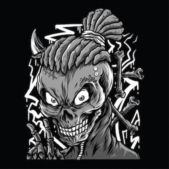 De schedel mompelt zwart-witte illustratie