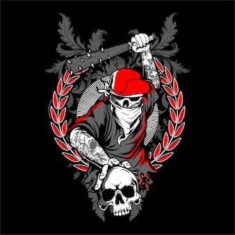 De schedel van de bandiet in hipster glb en skelethanden die gekruiste honkbalknuppels geïsoleerde vectorillustratie houden - vector