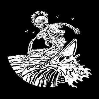 De schedelbranding van de grungestijl op het strand, de tekening van de wijnoogst, detailhand