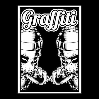 De schedelhand die verf graffiti houdt