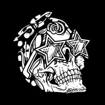 De schedelhoofd die van de grungestijl glazenillustratie dragen