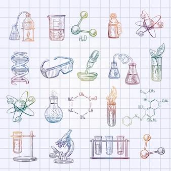 De schetspictogrammen van de chemie die op de gecontroleerde achtergrond van het oefenboek worden geplaatst