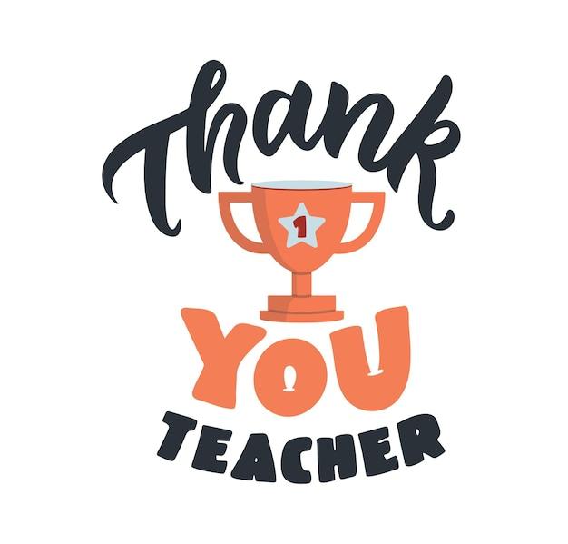 De schoolafbeelding met tekst de beletteringzin bedankt leraar is goed voor een gelukkige lerarendag