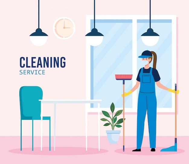 De schoonmakende dienst, vrouwenarbeider van de schoonmakende dienst die medisch masker in het ontwerp van de restaurantillustratie dragen