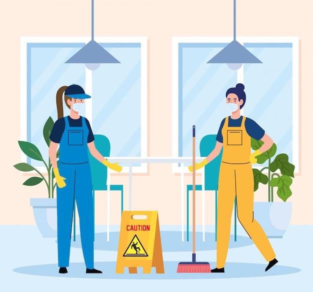 De schoonmakende dienst, vrouwenarbeiders van de schoonmakende dienst die medisch masker in het ontwerp van de restaurantillustratie dragen