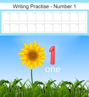 De schrijfpraktijken nummer 1 met de grote zonnebloem