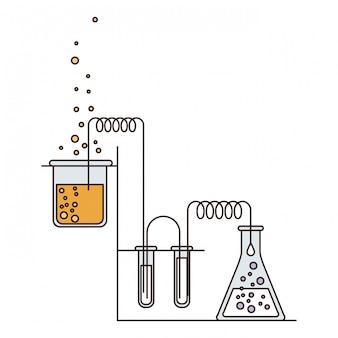 De secties van de silhouetkleur van chemisch laboratorium met een in uitvoering proces