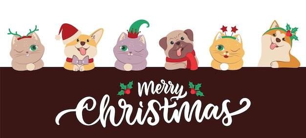 De set gezichten katten en honden voor vrolijk kerstfeest. het collectiebeeld van winterdieren met citaat. het kitten en puppy in de elf, sterren, hoed, hoorns. vector illustratie