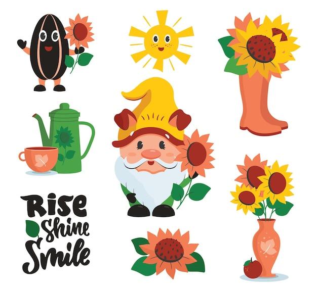 De set grappige stickers met kaboutertekst en zonnebloemen de tekenfilmcollectie
