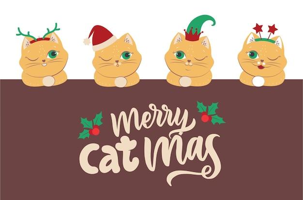 De set hoofdkatten met beletteringcitaat is goed voor merry christmas-ontwerpen. het collectiebeeld van winterdieren met in de hoed, elf, sterren, hoorns. de vectorillustratie