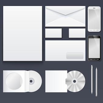 De set items voor het brandmerken van de huisstijl