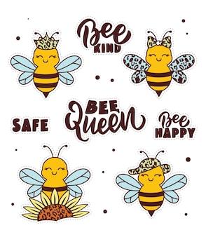 De set stickers voor happy world bee day handgetekende collectie honey bee