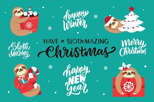 De set van gelukkige luiaard en belettering citaten over gelukkig nieuwjaar vrolijk kerstfeest