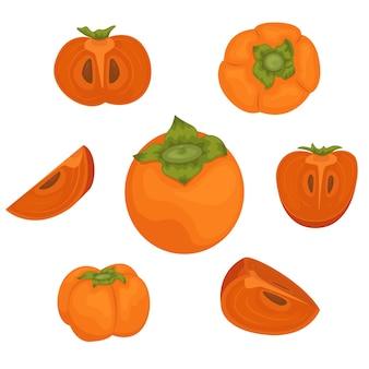 De set van rijpe dadelpruimen. persimmon heel en stukjes.