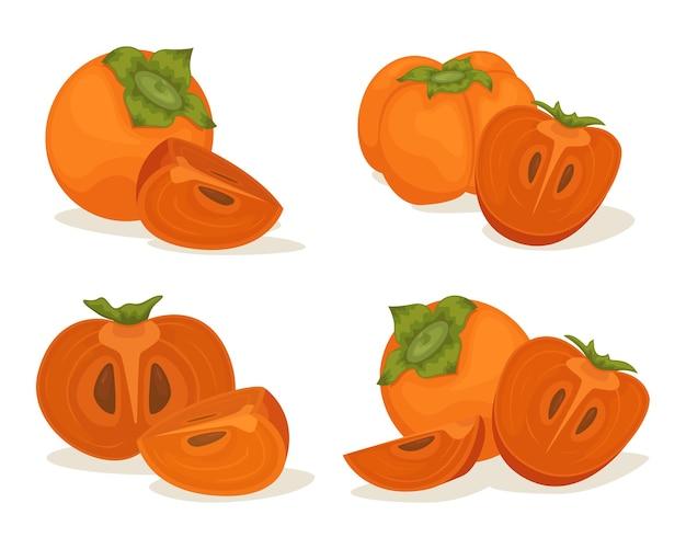 De set van rijpe persimmon-composities. persimmon heel en stukjes.