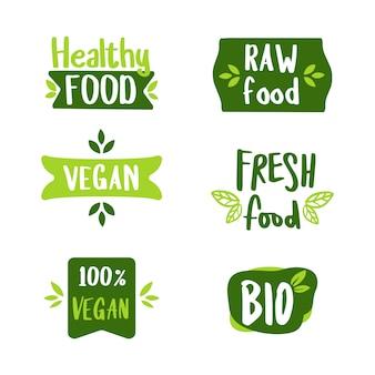 De set van veganistisch en kruidenlabel