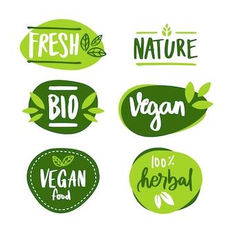 De set van veganistische en kruidenbanner