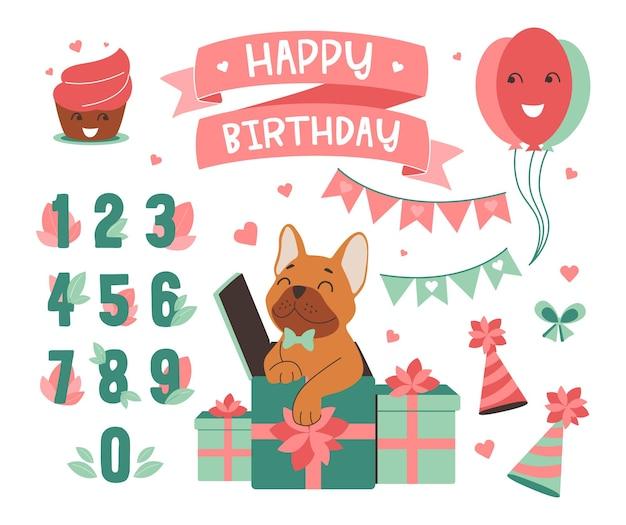 De set van verjaardag in een vectorillustratie de illustraties met hond voor vakantie kinderfeestje