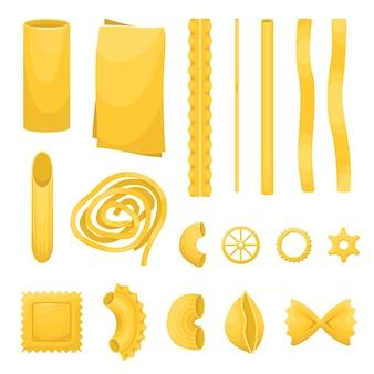 De set van verschillende soorten italiaanse pasta.
