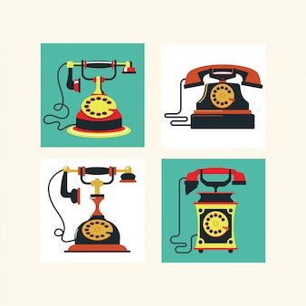 De set van vintage klassieke telefoons illustratie