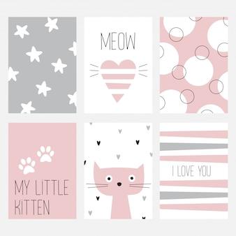 De set van zes kaarten met een leuke kat op een roze achtergrond.