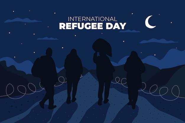 De silhouetten ontwerpen de dag van de wereldvluchteling