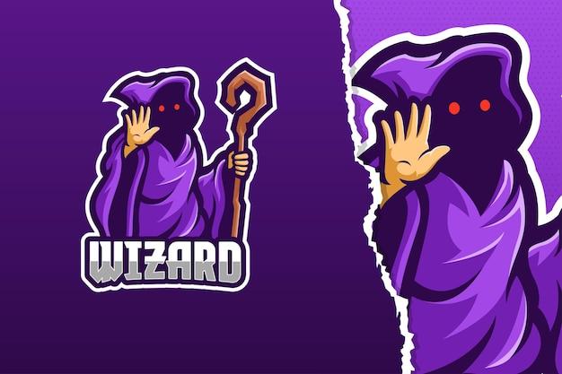 De sjabloon van het logo van de tovenaar mascotte