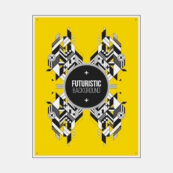 De sjabloon van het poster / drukontwerp met symmetrisch abstract element op kleurrijke achtergrond.