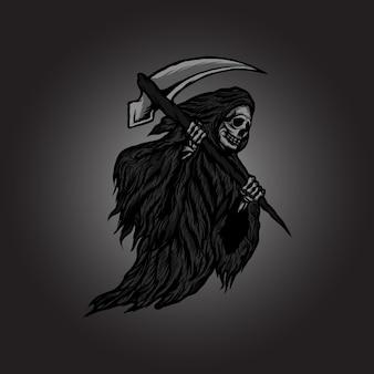 De skelet magere hein enge dood met illustratie van het zeismes