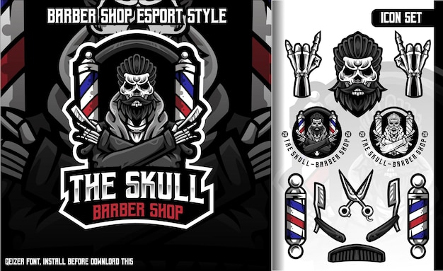 De skull barber shop set mascot-logo