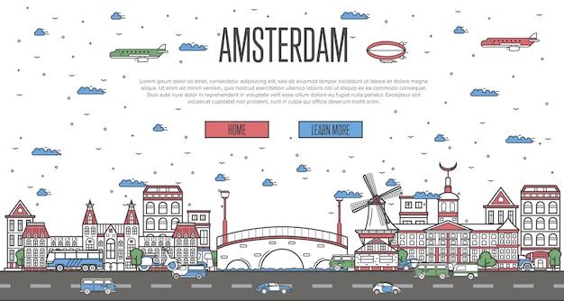 De skyline van amsterdam met nationale beroemde bezienswaardigheden
