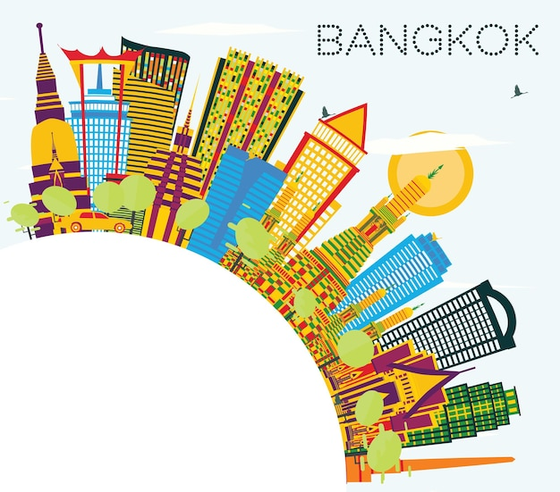 De skyline van bangkok thailand met kleuroriëntatiepunten, blauwe lucht en kopieerruimte. vectorillustratie. zakelijke reizen en toerisme concept. bangkok stadsgezicht met monumenten.