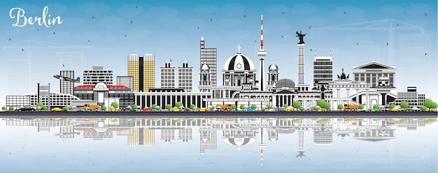 De skyline van berlijn duitsland met grijze gebouwen, blauwe lucht en reflecties. vectorillustratie. zakelijk reizen en toerisme concept met historische architectuur. berlijn stadsgezicht met monumenten.