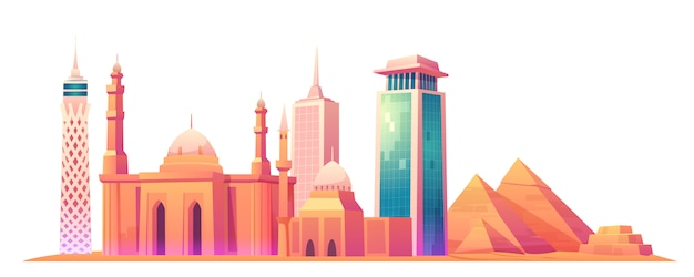 De skyline van caïro, egypte met wereldberoemde bezienswaardigheden
