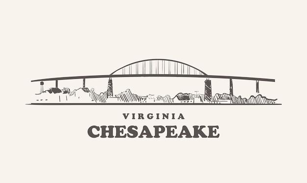 De skyline van chesapeake, virginia
