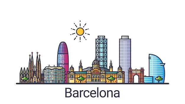 De skyline van de stad barcelona in platte lijnstijl