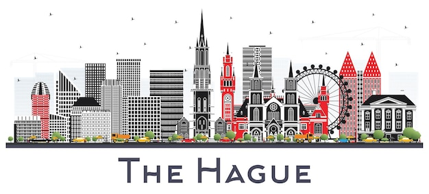 De skyline van de stad van den haag nederland met kleur gebouwen geïsoleerd op wit. zakelijk reizen en toerisme concept met historische architectuur. haags stadsgezicht met monumenten.