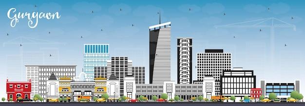 De skyline van de stad van gurgaon india met grijze gebouwen en blauwe lucht. vectorillustratie. zakelijk reizen en toerisme concept met moderne architectuur. gurgaon stadsgezicht met monumenten.