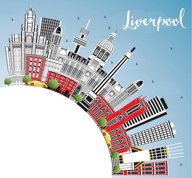 De skyline van de stad van liverpool engeland met kleur gebouwen, blauwe lucht en kopie ruimte. vectorillustratie. zakelijk reizen en toerisme concept met historische architectuur. liverpool stadsgezicht met monumenten.