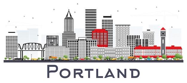 De skyline van de stad van portland oregon met grijze gebouwen geïsoleerd op wit. vectorillustratie. zakelijk reizen en toerisme concept met moderne architectuur. portland stadsgezicht met monumenten.