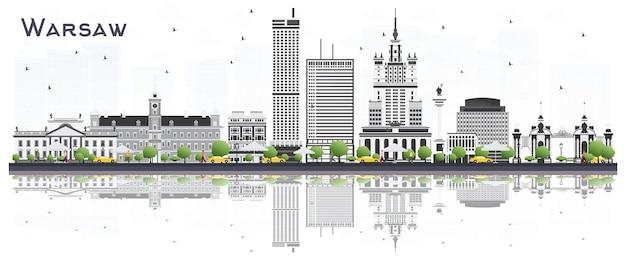 De skyline van de stad van warschau polen met grijze gebouwen geïsoleerd op een witte achtergrond. vectorillustratie. zakelijk reizen en toerisme concept met historische architectuur. warschau stadsgezicht met monumenten.