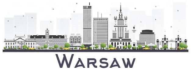 De skyline van de stad van warschau polen met grijze gebouwen.