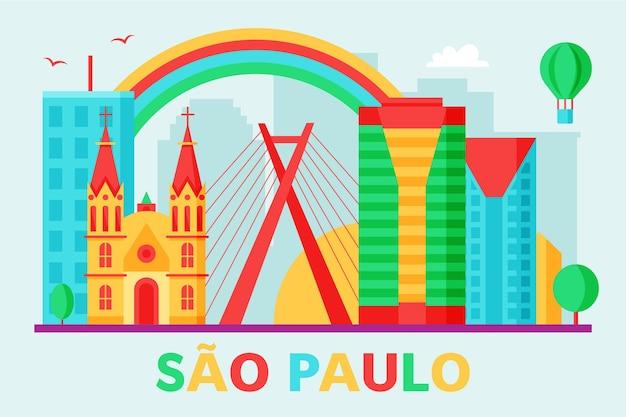 De skyline van het kleurrijke ontwerp van são paulo