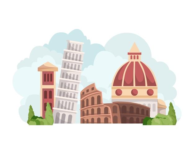 De skyline van italië met bezienswaardigheden