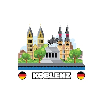 De skyline van koblenz met stadsgezicht monumenten en architectuur.