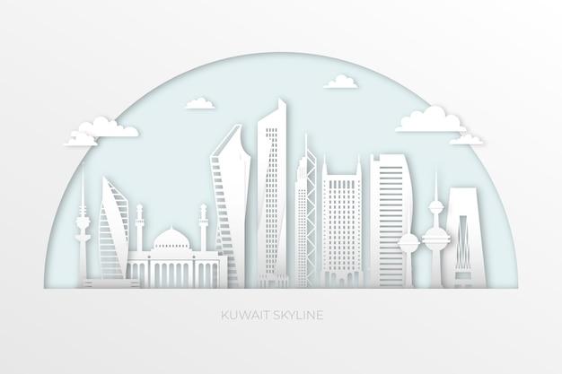 De skyline van koeweit in papierstijl