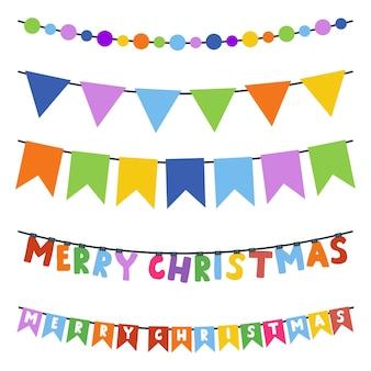 De slinger van kerstmisgors die op een witte achtergrond wordt geplaatst.