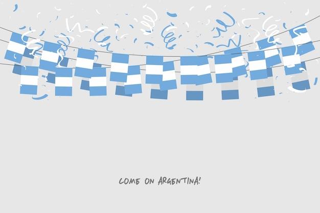 De slingervlag van argentinië met confettien op grijze achtergrond.